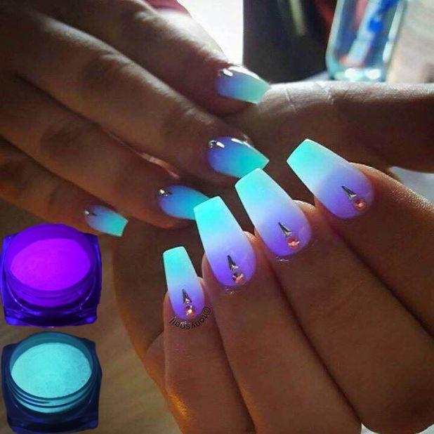 fosforyzujący proszek do paznokci neon