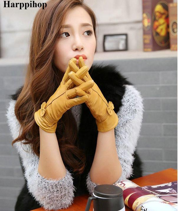 skórzane rękawiczki ze wstążką aliexpresss